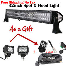 "32 inch LED Light Bar Flood Combo + 4"" Pods Spot Work 4X4 Offroad Truck Jeep SUV"