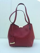 BURBERRY SMALL CANTERBURY GRAIN CHECK LEATHER TOTE BAG - RED - FOR WOMEN