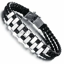 Silver Stainless Steel Black Braided Rope Leather Men's Boys Bracelet 7.87 Inch