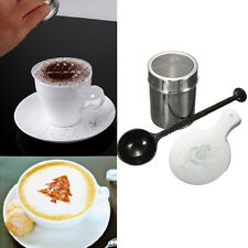 Chocolate Shaker Duster+16pcs Cappuccino Coffee Barista Stencils + Measure Spoon
