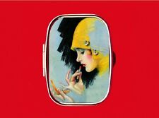 FLAPPER PIN UP GIRL 1920'S LIPSTICK MAKE UP HAT METAL PILL MINT BOX CASE