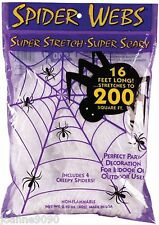 NEW 60g HALLOWEEN SPIDERS STRETCHABLE WEB DECORATION COVERS 200 SQUARE FEET