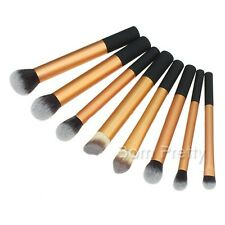 8Pcs Professional Cosmetic Powder Brush Set Golden Aluminum Tube Makup Brushes