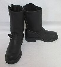 Women's Black Pebbled Leather Engineer Motorcycle Riding Boots Sz 6 M