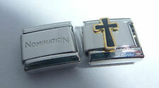 BLACK CROSS 9mm Italian Charm + 1x Genuine Nomination Classic Link E22 FAITH