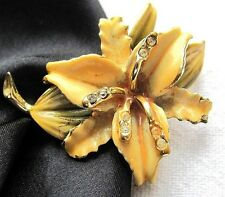 Fabulous Antique Vintage Orchid Brooch Clear Rhinestones Yellow Enamel
