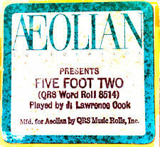 AEOLIAN Word Roll FIVE FOOT TWO EYES OF BLUE J. Lawrence Cook Player Piano Roll