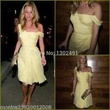 TOPSHOP KATE MOSS YELLOW ONE SHOULDER CHIFFON PARTY DRESS SIZE UK10/EUR38/US6