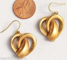 Chico's Earrings Amazing Gold Tone Fancy Layered Twist Heart Dangles Hooks