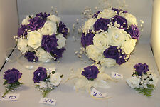 WEDDING  BOUQUETS BUTTONHOLES CORSAGE PACKAGE PURPLE & IVORY ** 22 PIECES £155**