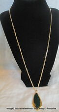 1970's Vintage Sarah Coventry Gold Tone Evergreen Reversible Pendant Necklace