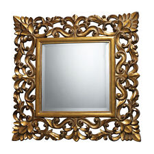 Ornate French Tuscan Floral Gold Scroll Wall Foyer Mantle Mirror Furniture