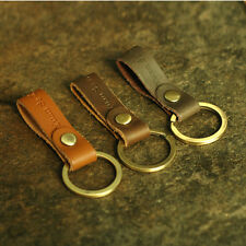 Men Women Handmade Leather Keychain Key Ring Copper Ring Decoration Clip