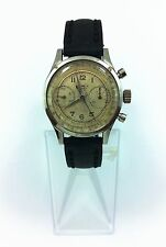 Antique Elrex Chronograph 17 Jewels Original Case Leather Strap Men Watch