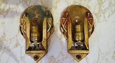 1920s 30s Vtg Pair Antique Art Deco Slip Shade Sconce Lights Lamps Brass Frames