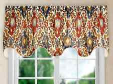 "TUSCANY Scallop Lined Valance by Ellis 70"" W x 12"" L - Navy, Brick Red, Brown"