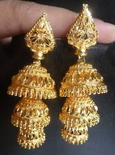 22K Gold Plated Indian Jhumka 2 Steps Traditional Wedding Earrings Jewelry Set