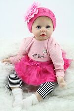 Nicery Reborn Baby Doll Soft Silicone Girl Toy 22in. 55cm Pink Head Dress