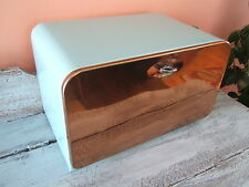 Vintage Mid Century Retro Lincoln Beauty Box Bread Box in Turquoise and Copper