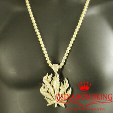 ICED OUT YELLOW CANARY LAB DIAMOND MARIJUANA LEAF PLANT CHARM PANDANT CHAIN SET