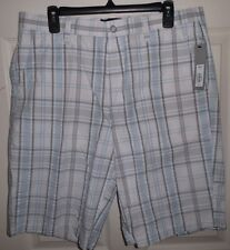 APT.9  Mens Sz 34 SEERSUCKER PLAID bermuda shorts White 100% Cotton NEW $44