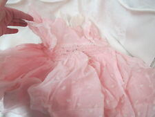 Vintage nylon Polly Flinders hand smocked Girl's Dress with Ballerinas Sz 1