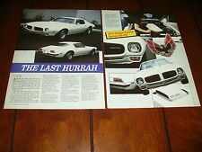 1973 PONTIAC FIREBIRD FORMULA SD 455 ***ORIGINAL 1989 ARTICLE***