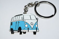 Pale Blue VW Camper Van Keyring Gift Idea Enamel Metal Novelty Bag Keychain