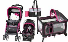 Baby Trend Hello Kitty Stroller Car Seat Diaper Bag Nursery Center Playpen Combo