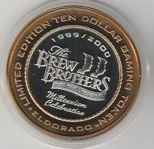 2000 Eldorado Millennium Brew Brothers CU rim .999 Fine Silver $10 Casino Token