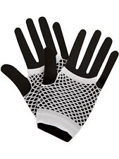 White Hot Colours Short Fish Net Fingerless Gloves 80's Party Wear Goth