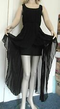Miss London Designer Long Tailed Mini Dress in Black, Half Lined BNWT FREE Ship