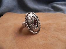 Ammolite or Abalone Shell & Stamped Sterling Silver Ring size 11 Navajo