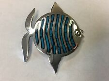 Sterling Silver Mexico TV-01 EVC Turquoise Inlay Fish Pin Brooch