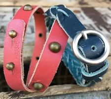 2 Fossil Leather Bracelets- Pink Studded Double Wrap & Blue Braided
