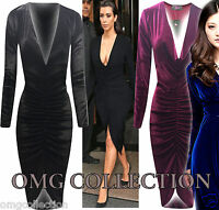 Womens New Ladies Celebs Kim Velvet VELOUR Plunge Neck Ruched Midi Bodycon Dress
