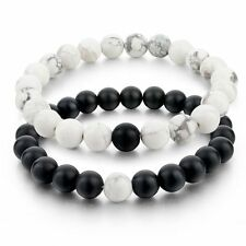8mm Beads Balanced Howlite Matte Black & White Bracelet Matching Couples Jewelry