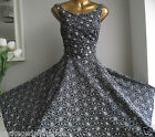 MONSOON KELLY DAISY BLACK WHITE EMBROIDERED CUTWORK FIT FLARE 50's PROM DRESS 14