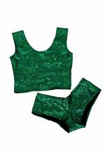 2PC MEDIUM Green Holographic Crop Top & Cheeky Booty Shorts Set Ready To Ship!
