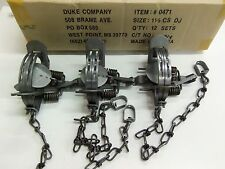 3 Duke # 1 1/2 Double Jaw Coil Spring Trap 0471 Raccoon Mink Nutria Trapping