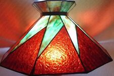 ANTIQUE ARTS & CRAFTS STAINED SLAG GLASS LAMP SHADE