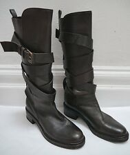 SARTORE dark brown leather wrap around strap knee high boots size 39.5