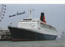 QE2 12x8 in person signed by her last Captain - COMMODORE WARWICK