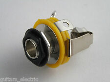 """1/4"""" STEREO JACK SOCKET CHROME GOLD or BLACK + Nuts & Washer for electric guitar"""