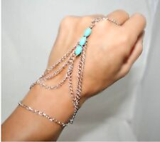 Argent chaîne charme Interweave turquoise bracelet finger ring slave hand harness