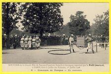 cpa PARIS TUILERIE Grande Fête de SAPEURS POMPIERS en 1906 Concours de POMPES
