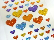 Small Sparkly Heart Stickers Kids Labels for Craft Decoration Card-Making CRY02