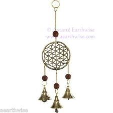 BRASS FLOWER OF LIFE  WINDCHIME BELLS & RUDRAKSHA BEADS  Wicca Witch Pagan Goth