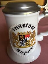 Bavarian Porcelain Beer Stein with Pewter Lid, showing the Bavarian Crest