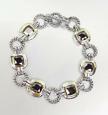 EXQUISITE Silver Cable Rings Black Onyx CZ Crystal Links Toggle Bracelet